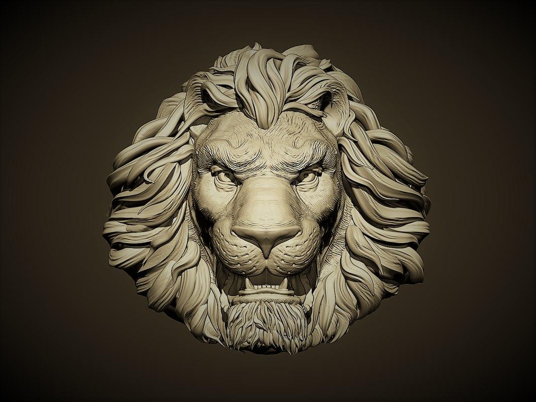 aggressive lion head 3D