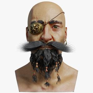 3D pirate head faces