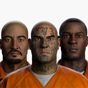 correctional facility prisoners zbrush model