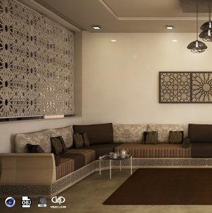 moroccan living room modern 3D model