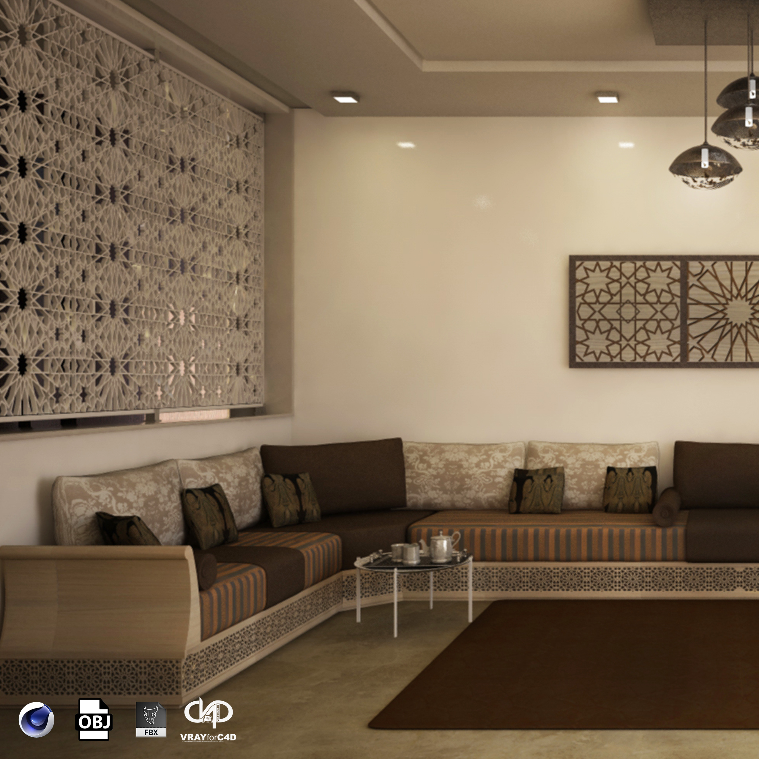 Moroccan and modern living room