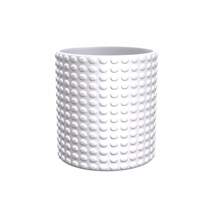 3D model white geometric decor vase