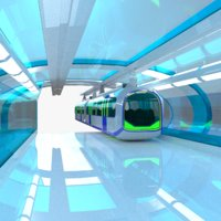 3D monorail train station