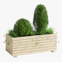wooden pine trough planter 3D model