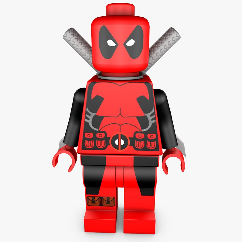 3D model lego deadpool rigged