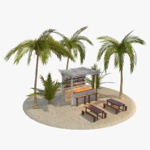 scene beach bar 3D model