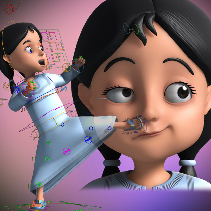 3D Cartoon Arab girl Rigged model turbosquid