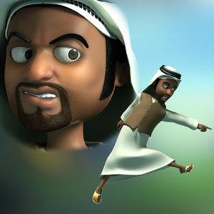 cartoon arab man rigged 3D model