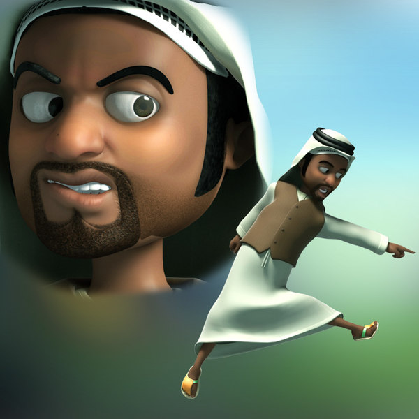 cartoon arab man rigged 3D model