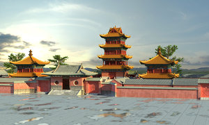 3D ancient china palace