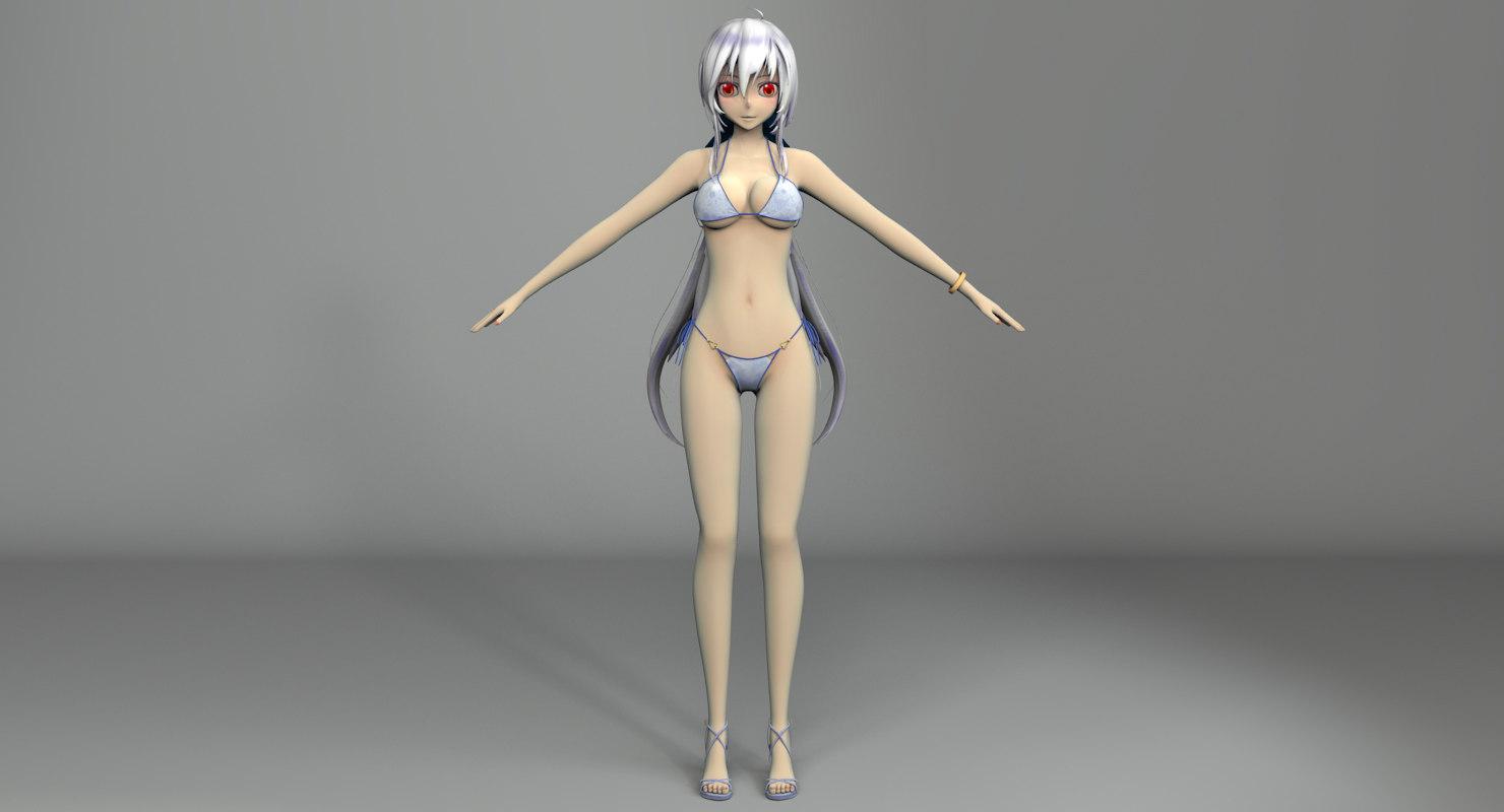 haku bikini anime model