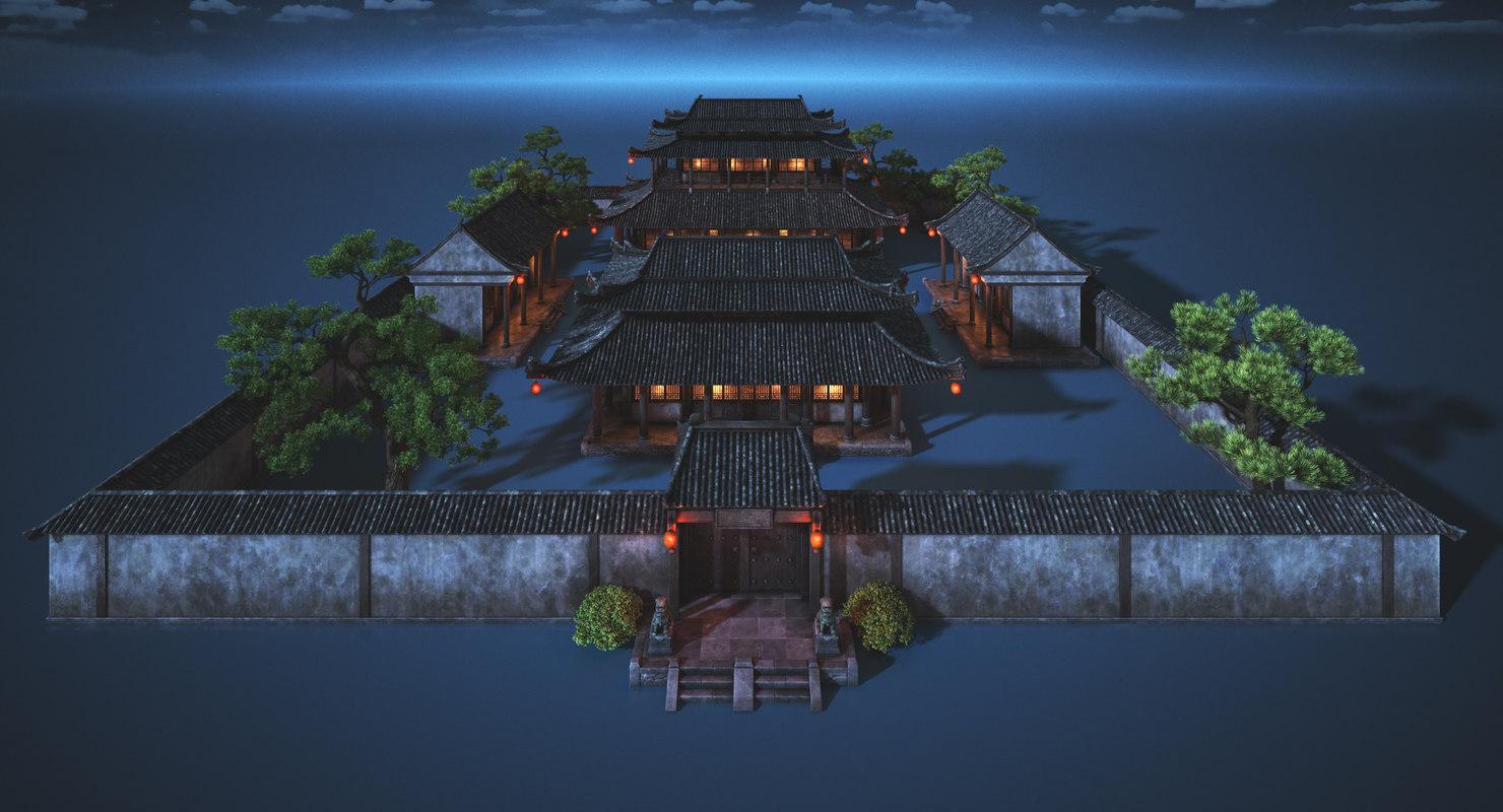 chinese palace night 3D model