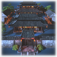 chinese palace night 3D model