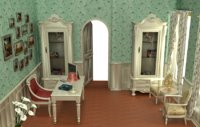 3D interior scene royal office model