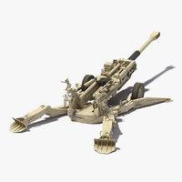 Battle Position Howitzer M777 155mm Desert 3D Model