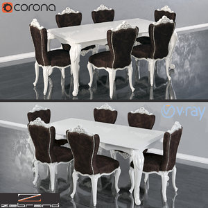 3D table chairs zebrano casa model