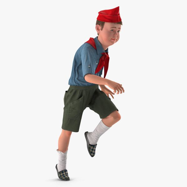 3D boy running pose