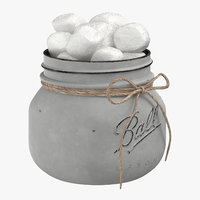 painted jar filled cotton 3D
