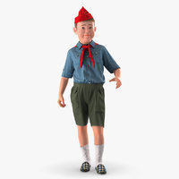 Pioneer Child Boy Standing Pose Fur 3D Model