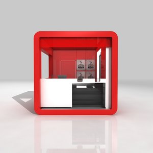 3D product display kiosk booth model