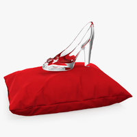 3D glass slipper velvet pillow