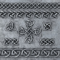 3D set celtic ornaments metal