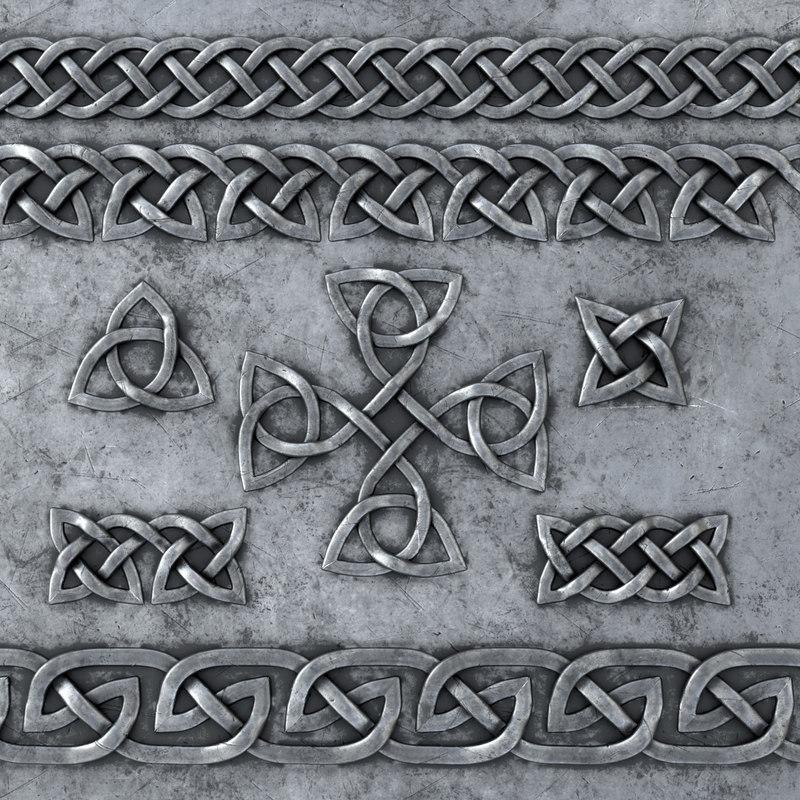 3D set celtic ornaments metal