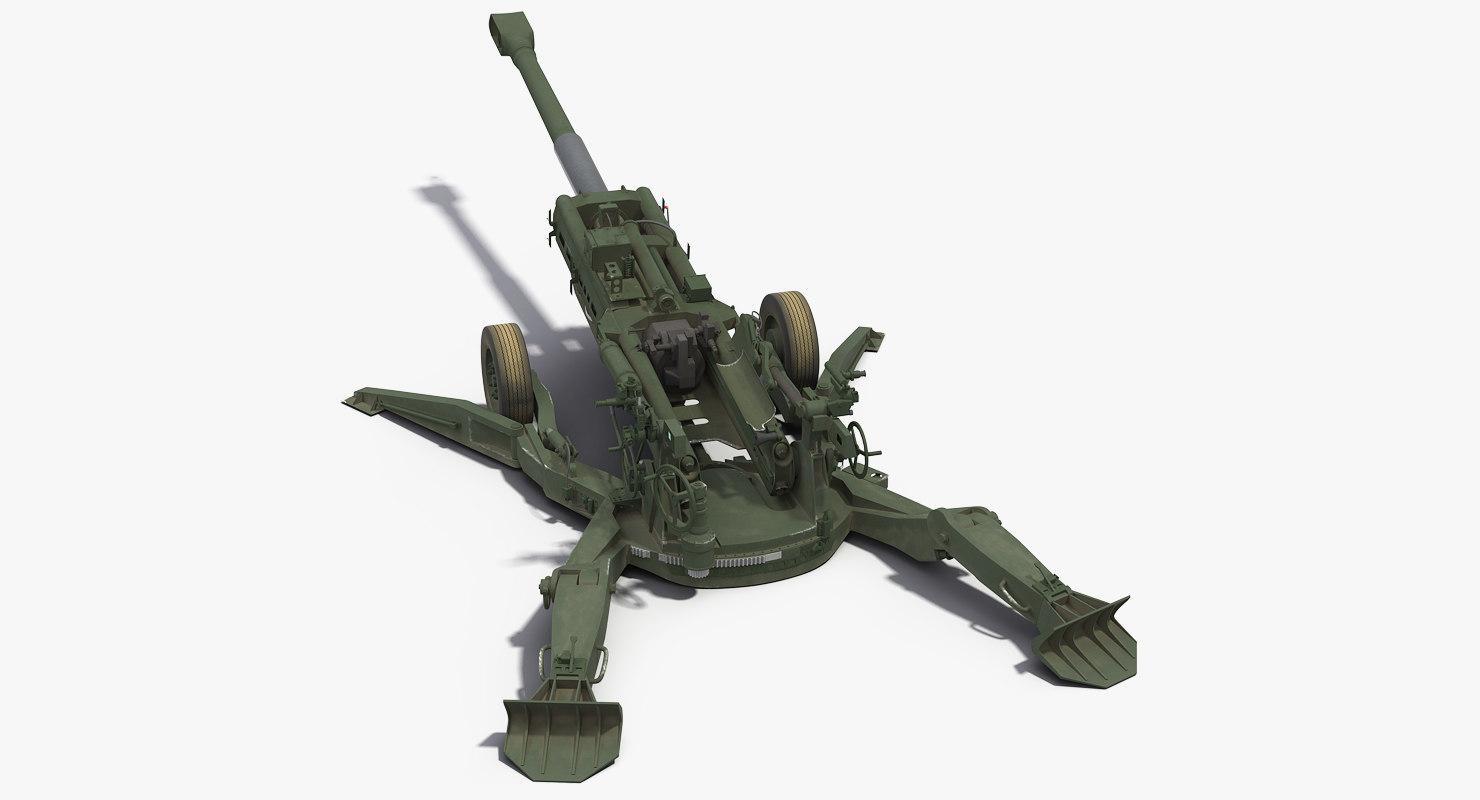3D m777 howitzer 155mm battle