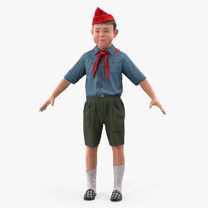 3D male child pioneer fur hair model