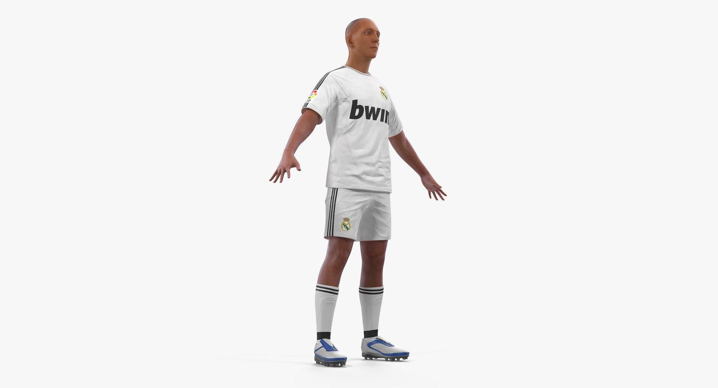 3D model soccer football player real