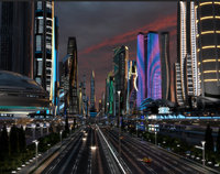 Future City. Night. Main Street