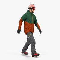 Snowboarder in Winter Sports Gear Rigged 3D Model