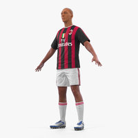 3D soccer football player milan model
