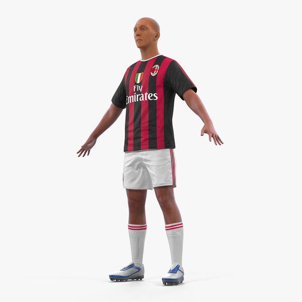 3D soccer football player milan model
