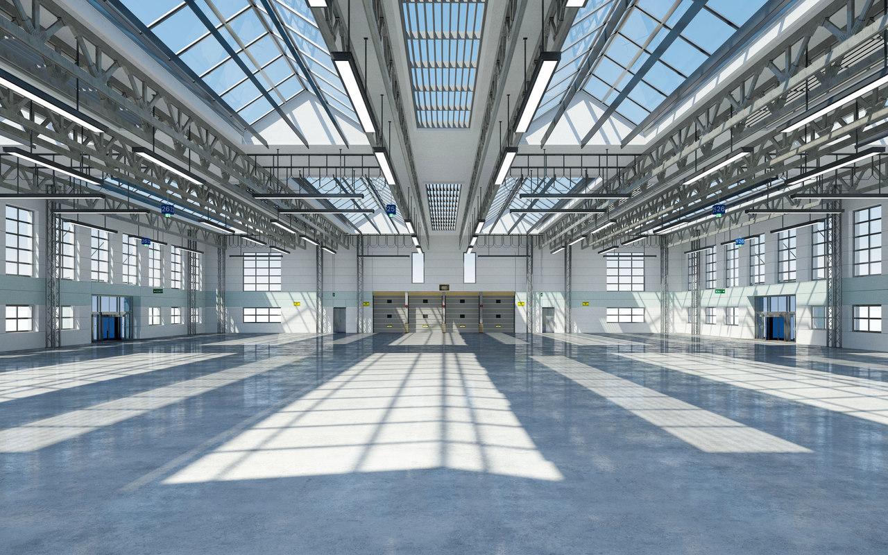 3D model exterior modeled warehouse