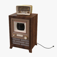 3D stylized retro tv radio