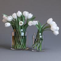 3D tulips white