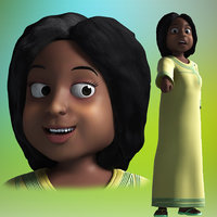 3D cartoon african woman rigged model