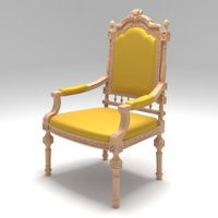 carved chair 04 3D model