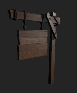 3D hanging wooden sign