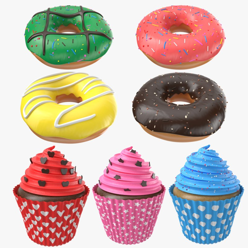 dessert cupcake donuts model