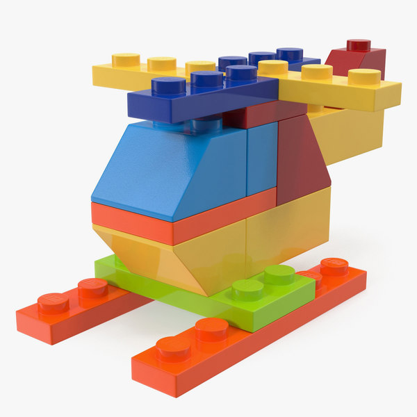 3D toy helicopter lego bricks model