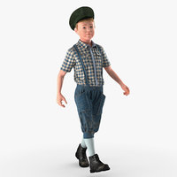 Vintage Child Boy Walking Pose 3D Model