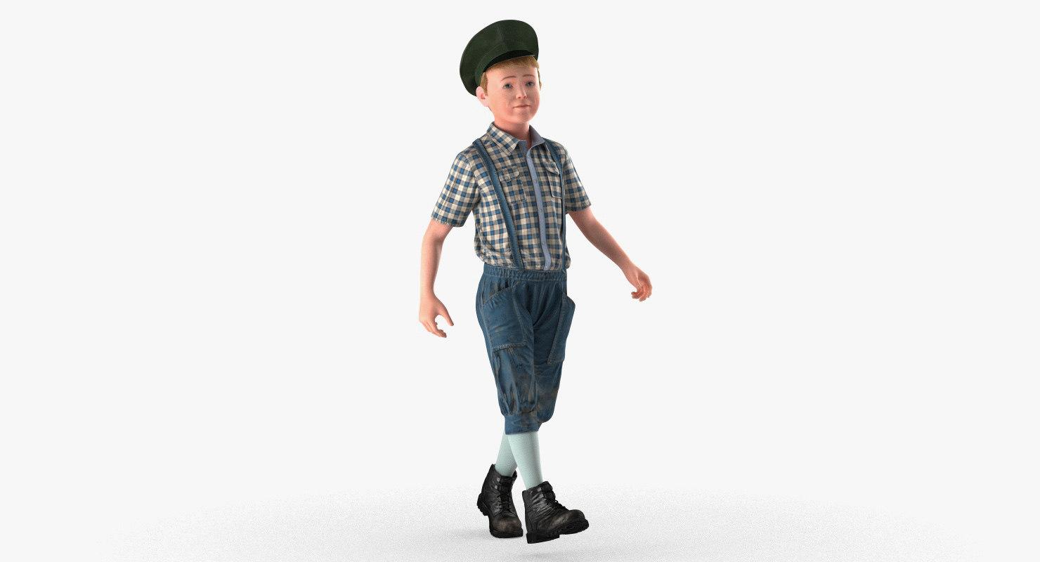 vintage child boy walking 3D model