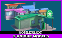 3D package cartoon gas station