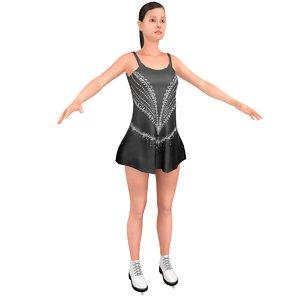 3D female figure skater model