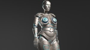 3D lady robot rigged character