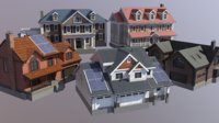 3D model modern suburban house