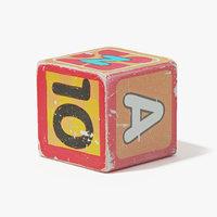 3D rough wooden block