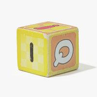 3D rough wooden block model